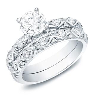 Auriya Platinum 1ct TDW Vintage Inspired Certified Diamond Engagement Ring Bridal Set
