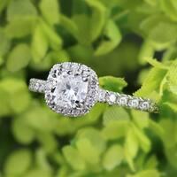 Auriya Platinum 1 1/2ct TDW Certified Cushion-Cut Diamond Halo Engagement Ring