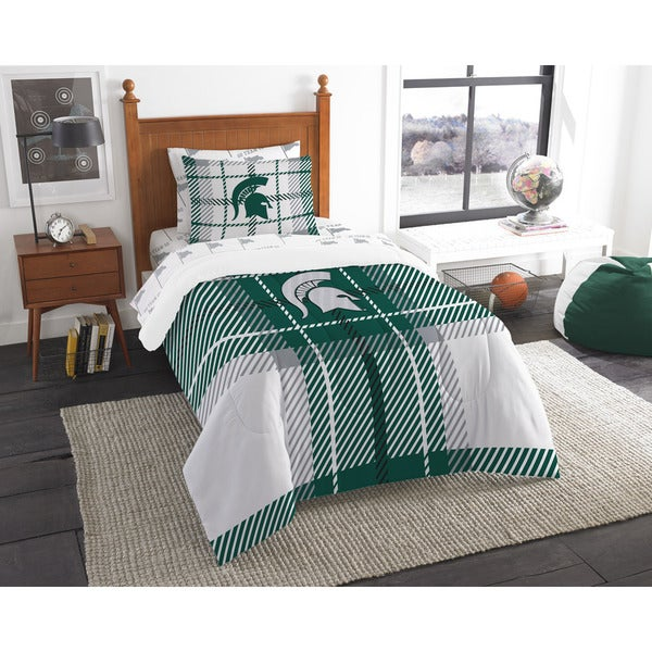 The Northwest Company Michigan State Twin 5-piece Bed in a Bag with Sheet Set