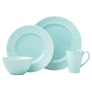 Lenox British Colonial Aqua Porcelain 4-piece Carved Place Setting
