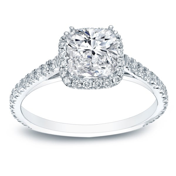 Auriya Platinum 1 1 2ct TDW Certified Cushion Cut Diamond Halo Engagement Rin