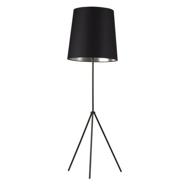 Dainolite 1-light 3 Leg Drum Black/ Silver Floor Fixture