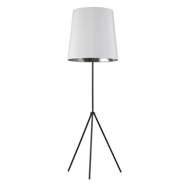 Dainolite 1-light 3 Leg Matte Black Drum White/ Silver Floor Fixture