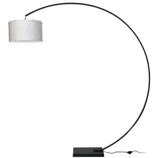 Dainolite Aluminum Arc Black Lamp with White Shade
