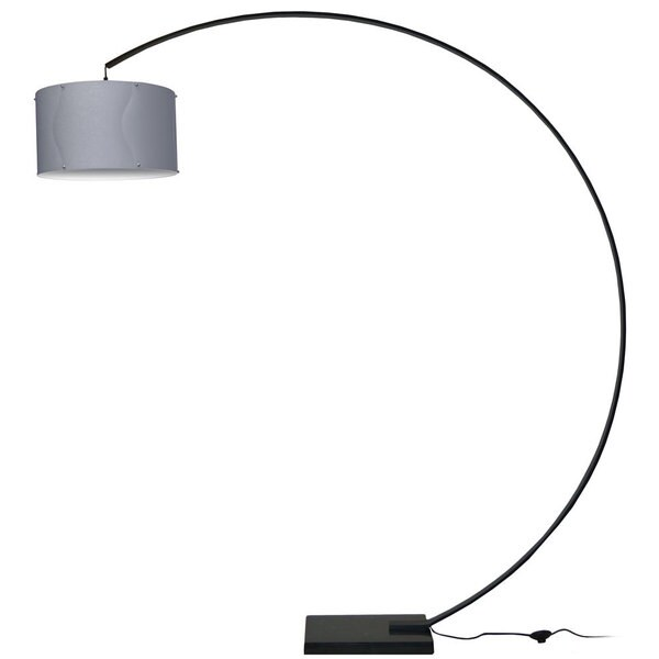 Dainolite Aluminum Arc Black Lamp with Silver Shade