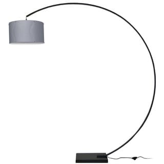 Dainolite Aluminum Arc Black Lamp with Silver Shade