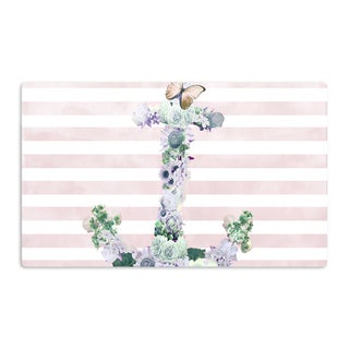 KESS InHouse Nika Martinez 'Floral Anchor' Pink Stripes Artistic Aluminum Magnet