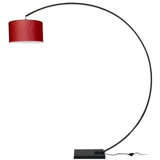 Dainolite Black Aluminum Red Fabric Arc Lamp with Shade