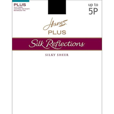 Hanes Womens Silk Reflections White Nylon and Spandex Top Enhanced Toe Pantyhose