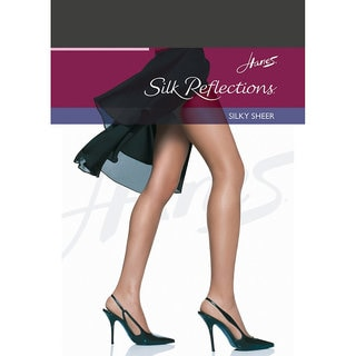 Silk Reflections Women's Reinforced Toe Pantyhose Barely Black