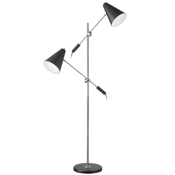 Dainolite 2-light Matte Black Polished Chrome Floor Lamp