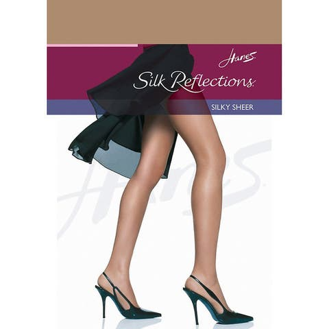 Silk Reflections Womens Reinforced Toe Pantyhose Barely There