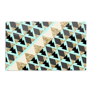 KESS InHouse Nika Martinez 'Glitter Triangles in Gold & Teal' Blue Brown Artistic Aluminum Magnet