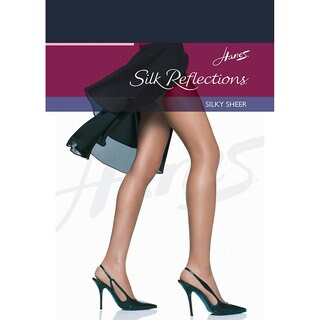 Silk Reflections Women's Reinforced Toe Pantyhose Classic Navy