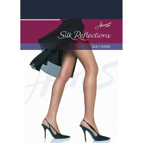 Silk Reflections Womens Reinforced Toe Pantyhose Classic Navy