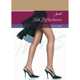 Hanes Women's Silk Reflections Little Color Tan Nylon/Spandex Reinforced Toe Pantyhose