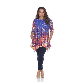 White Mark Women's Sigrid Multi-color Polyester, Spandex Plus-size Tunic Top