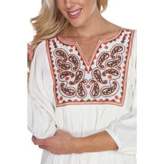 White Mark Women's 'Marcella' Embroidered Dress