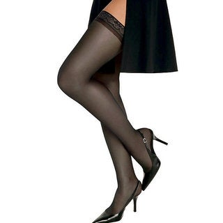 Silk Reflections Women's Barely Black Silky Sheer Thigh High Pantyhose