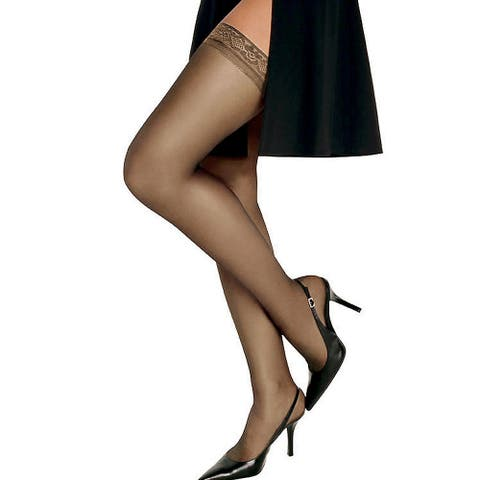 Silk Reflections Women's Barely There Silky Sheer Thigh High Pantyhose