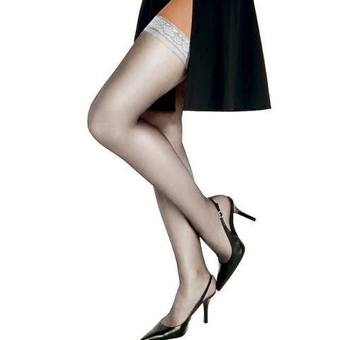 Silk Reflections Women's Silky Sheer Thigh High White Pantyhose