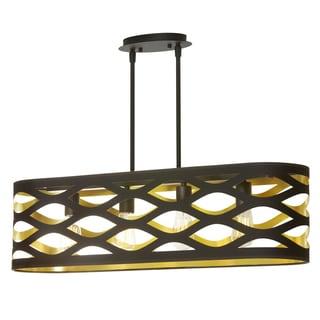 Dainolite Black-on-gold 4-light Horizontal Pendant with Oval Shade