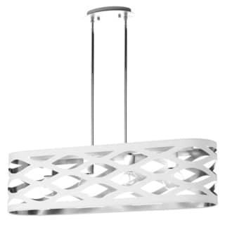 Dainolite White-on-silver 4-light Horizontal Pendant with Oval Shade