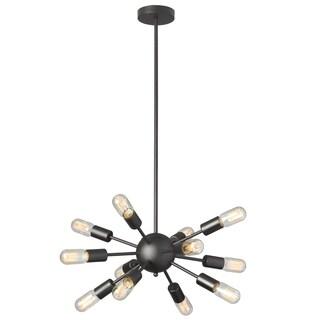 Dainolite 12-light Satellite Black Steel Chandelier with T14 Vintage Bulbs