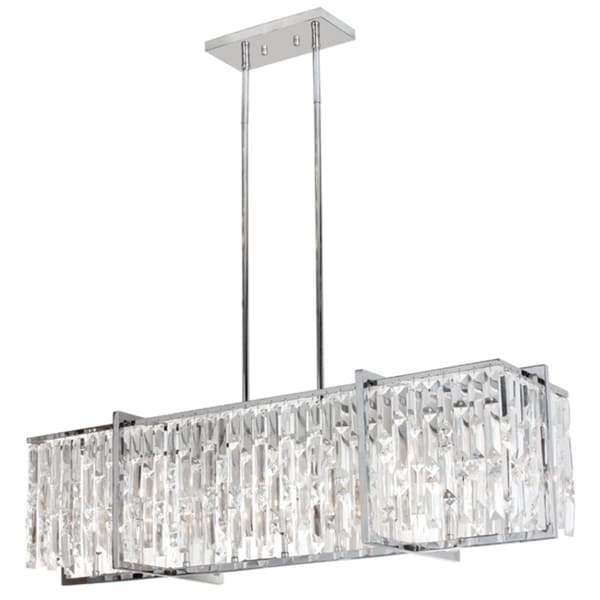 Dainolite polished chrome crystal 9 light horizontal chandelier