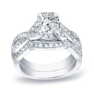 Auriya Platinum 1ct TDW Certified Cushion-cut Diamond Bridal Ring Set (H-I, SI1-SI2)
