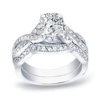 Auriya Platinum 1ct TDW Braided Certified Cushion-cut Diamond Engagement Ring Set
