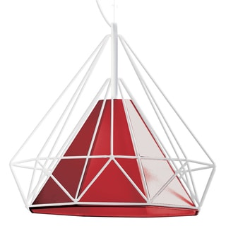 Dainolite 1-light Wide Metal Framed Pendant with Red Shade