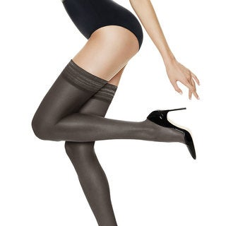 Silk Reflections Women's Ultra Sheer Thigh Highs with Run Resistant Technology Barely Black Pantyhose