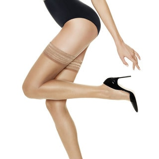 Silk Reflections Women's Ultra Sheer Thigh Highs with Run Resistant Technology Barely There Pantyhose