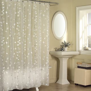 Excell Metallic Ivy Pattern Clear Vinyl Shower Curtain - Silver