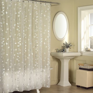 Excell Metallic Ivy Pattern Clear Vinyl Shower Curtain   Silver