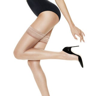 Silk Reflections Women's Ultra Sheer Thigh Highs with Run Resistant Technology Natural Pantyhose