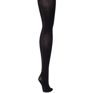Silk Reflections Women's Control Top Embellished Backseam Tight Black Pantyhose