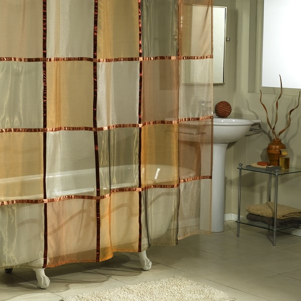 Shop Excell Bronze/ Terracotta/ Gold Mosaic Sheer Shower Curtain ...
