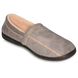Deluxe Comfort Men's Grey Suede Fleece Slipper