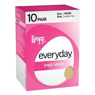 Everyday Women's Knee Highs ST Jet Black Pantyhose (Pack of 10)