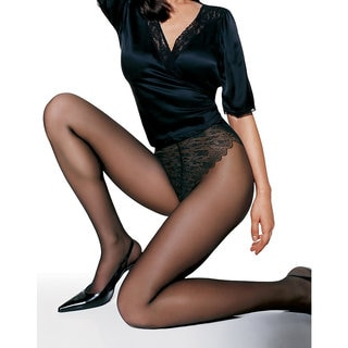 Women's Jet French Lace Cut Panty Sheer Toe Pantyhose