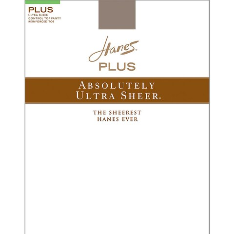 Plussolutely Ultra Sheer Women's Barely Black Control Top Reinforced Toe Pantyhose