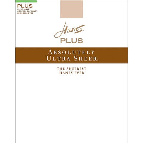 Plussolutely Ultra Sheer Women's Barely There Control Top Reinforced Toe Pantyhose