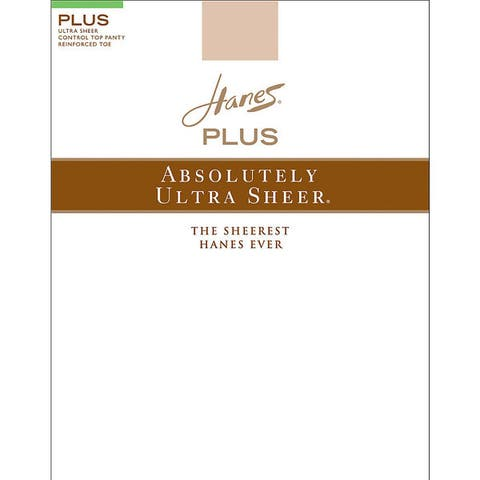 Plussolutely Ultra Sheer Womens Barely There Control Top Reinforced Toe Pantyhose