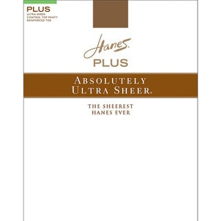 Hanes Plus Women's Absolutely Brown Nylon/Spandex Top Reinforced Toe Pantyhose