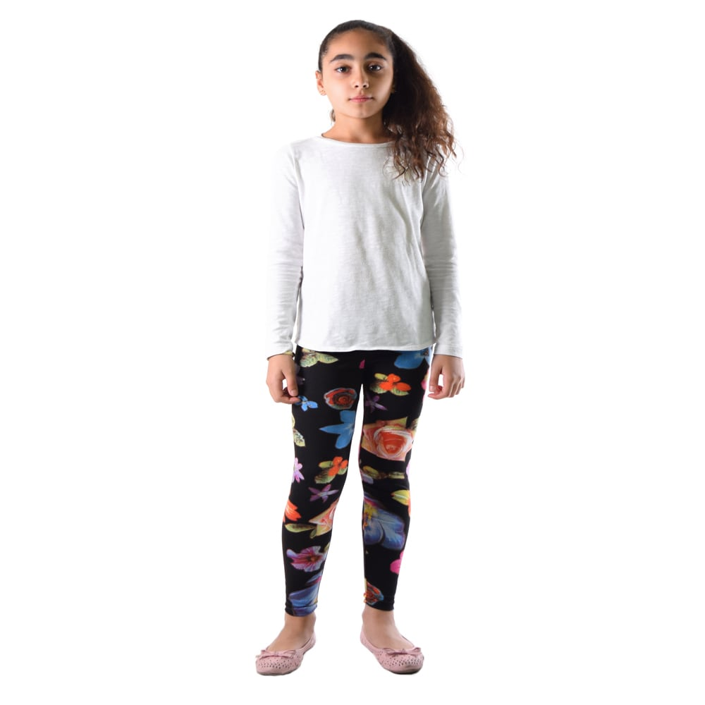 296693a8c1e17d Dinamit Girls' Multicolor Nylon/Spandex Floral Printed Leggings | eBay