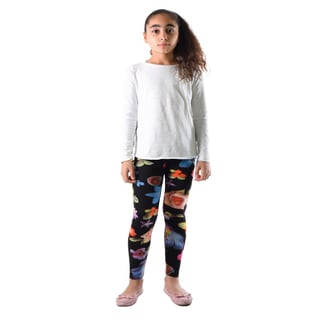 Dinamit Girls' Multicolor Nylon/Spandex Floral Printed Leggings