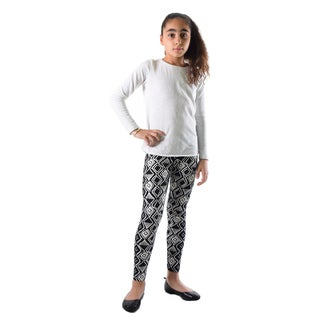 Dinamit Girls' Black/White Nylon/Spandex Argyle Printed Leggings