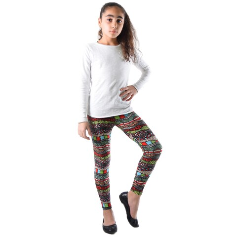 Dinamit Girls Multicolor Nylon/Spandex Geometric Printed Legging
